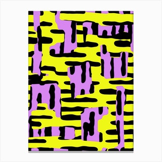 Yellow Pink And Black Canvas Print