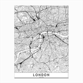 London White Map Canvas Print