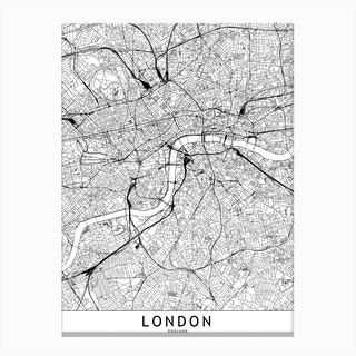 London White Map Canvas Print