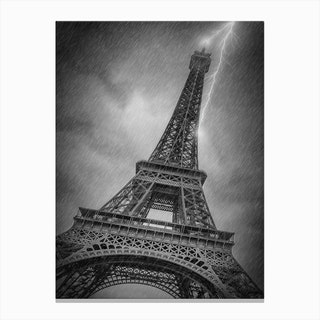 Paris Design Eiffel Tower Thunderstorm Canvas Print