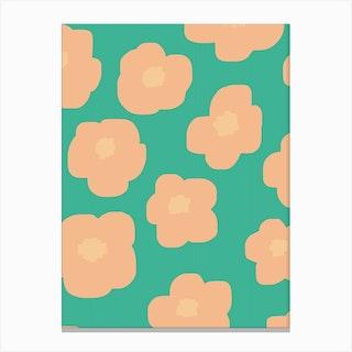Sookie Floral Pink Green Canvas Print
