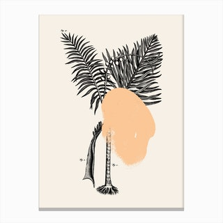 Tropical Tree Peach Canvas Print