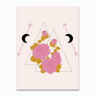 Pink Rose And Geometrics Canvas Print