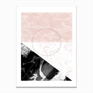Rectangle Pink & Black Marble Abstract Canvas Print