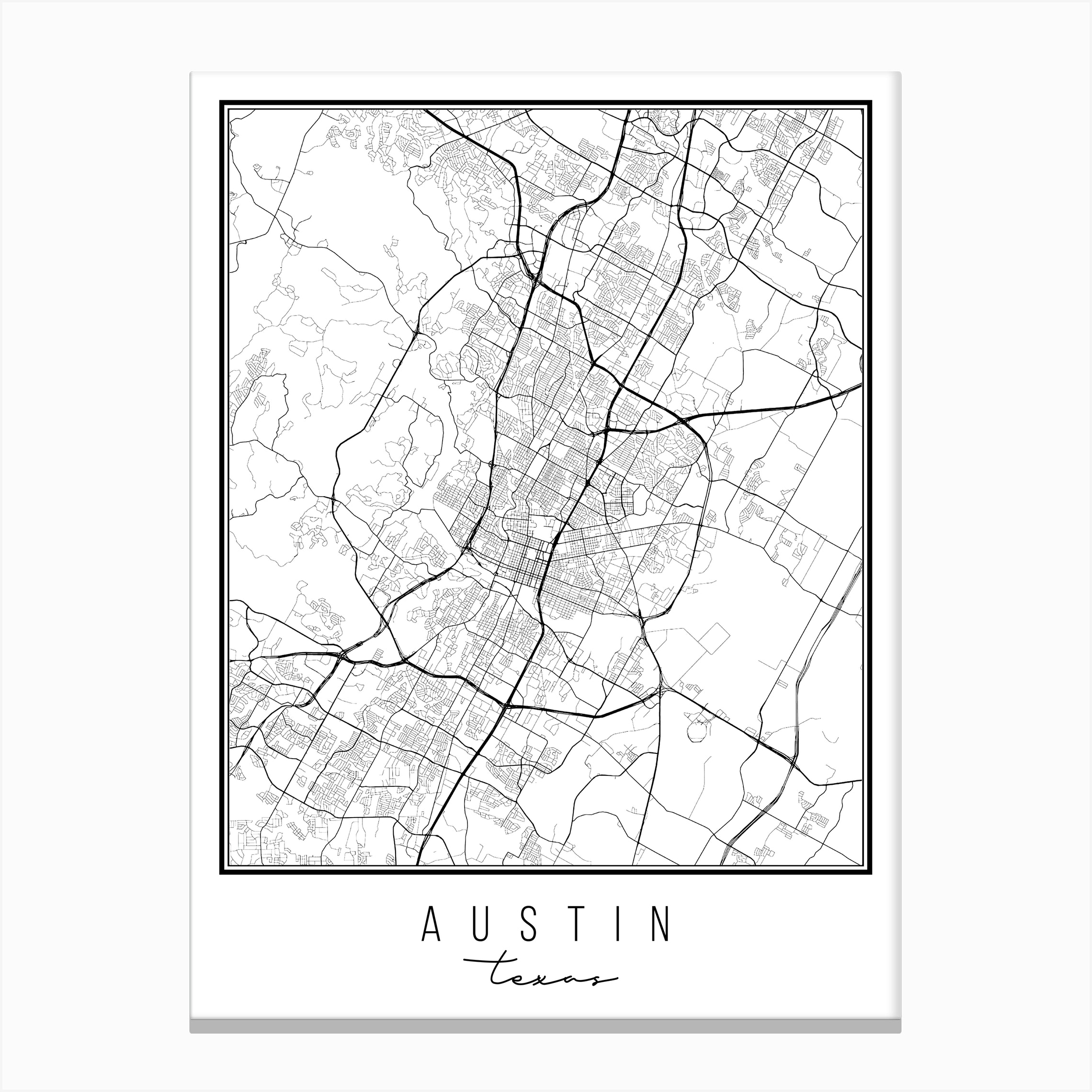 Texas Street Map Austin Texas Street Map Canvas Print by Typologie Paper Co   Fy