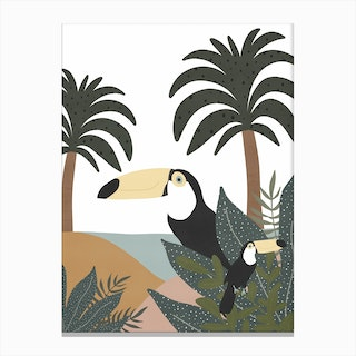 Jungle Art  Toucans Canvas Print