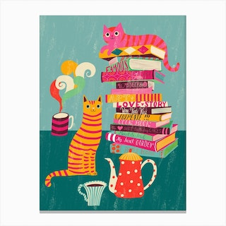 Cozy Tea Time Reading With Cats Canvas Print