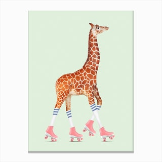 Rollerskating Giraffe Canvas Print