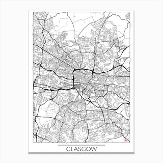 Glasgow Map Minimal Canvas Print