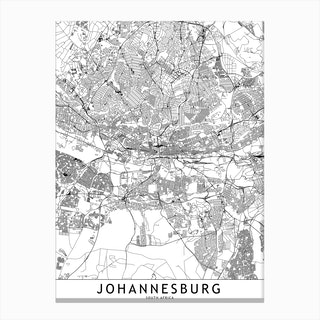Johannesburg White Map Canvas Print