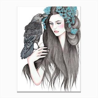 Raven Woman Canvas Print