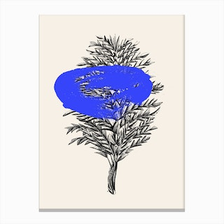 Tropical Leaf Blue Canvas Print
