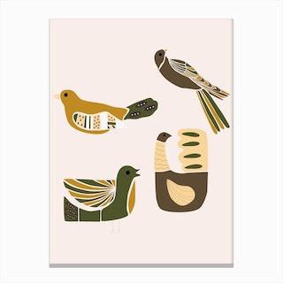 Folkie Elegant Birds Canvas Print
