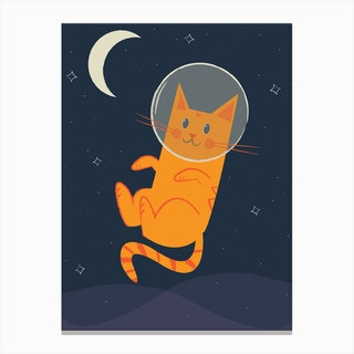 Floating Space Cat Canvas Print
