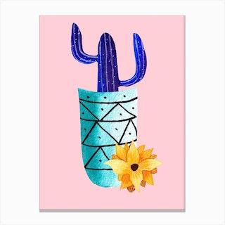 Galaxy Cactus Canvas Print