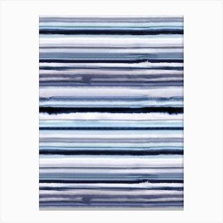 Degrade Stripes Watercolor Navy Canvas Print