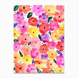 Lovely Pom Pom Flowers Canvas Print
