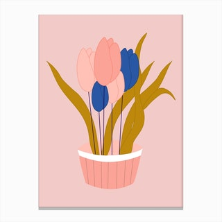 Pink And Blue Tulips In A Pot Canvas Print