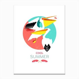 Summer Pelicans Canvas Print