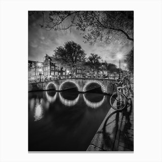 Amsterdam Idyllic nightscape from Keizersgracht Canvas Print