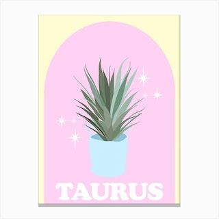 Botanical Star Sign Taurus Canvas Print