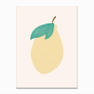 Lemon Illustration  Pink Background Canvas Print