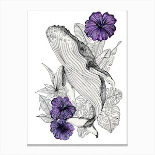 Whale And Flowers Canvas Print