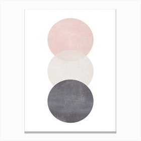 Pink Grey And Black Cotton Texture Abstract Circles Canvas Print