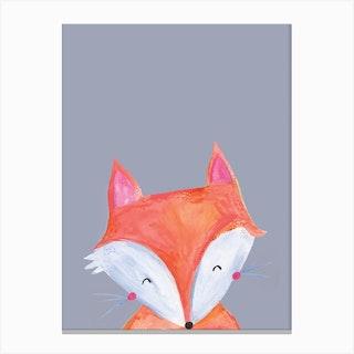 Woodland Fox On Grey Canvas Print