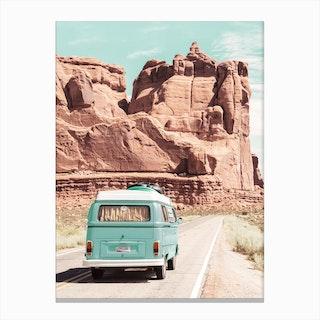 Boho Van In The Desert Canvas Print