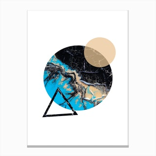 Blue Sand and Marble Circle Geometric Canvas Print