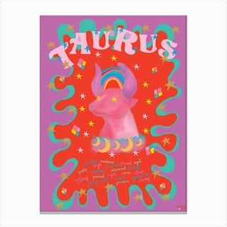 Taurus Zodiac Starsign Canvas Print