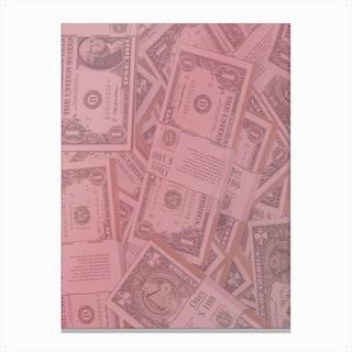 Pink Dollar Bills Canvas Print