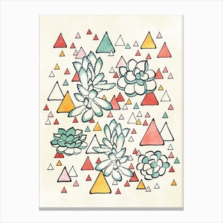 Succulent And Triangles Canvas Print