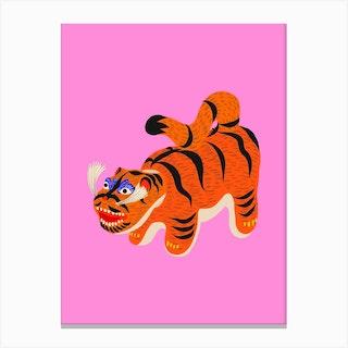 Hariko No Tora Pink Tiger Doll Canvas Print