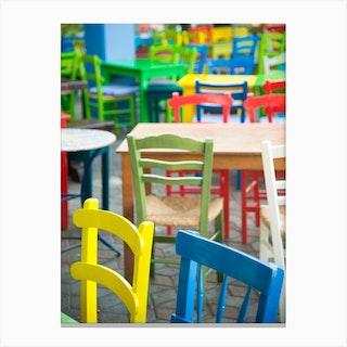 Coloured Taverna Chairs Canvas Print