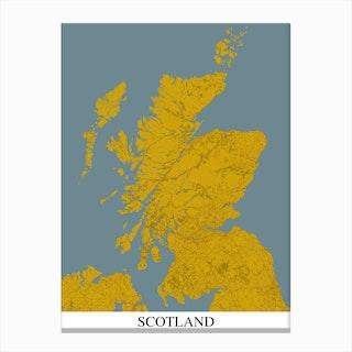 Scotland Yellow Blue Map Canvas Print