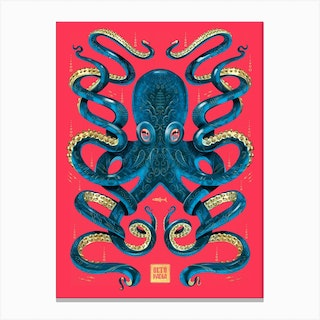 Octopus Magenta And Blue Canvas Print
