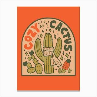Cozy As A Cactus Canvas Print