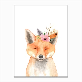 Floral Fox Canvas Print