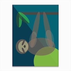 Mid Century Geometric Sloth Canvas Print