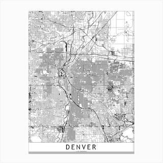 Denver White Map Canvas Print