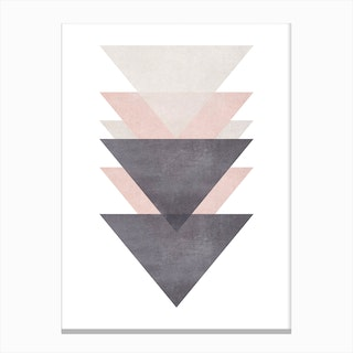 Pink Grey and Black Cotton Texture Abstract Triangles Canvas Print