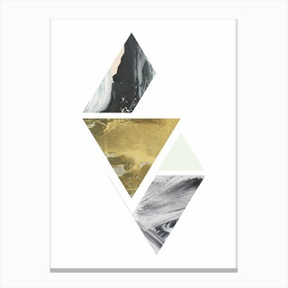 Textured Abstract Peach and Grey Triangles Canvas Print