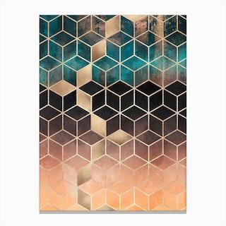 Soft Blue Gradients Cubes Canvas Print