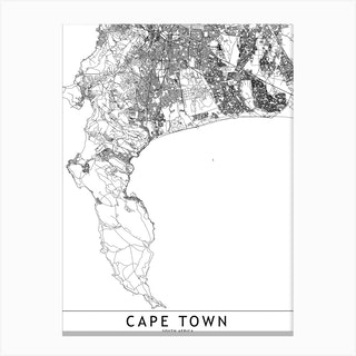 Cape Town White Map Canvas Print
