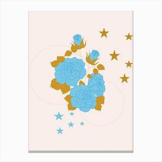 Blue Rose And Geometrics Canvas Print