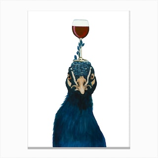 Peacock With Wineglass Canvas Print