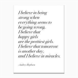 Happy Girls By Audrey In Serif Font Canvas Print
