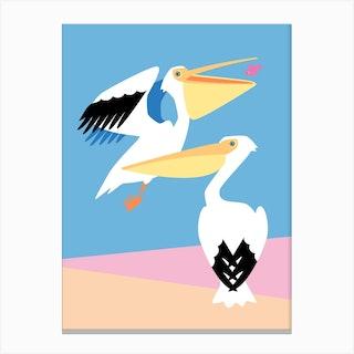 Pastel Pelicans Canvas Print